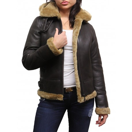 Ladies Women's Hooded Aviator Real Shearling Sheepskin Flying Leather Jacket Coat-Callie