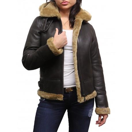 Ladies Women's Hooded Aviator Real Shearling Sheepskin Flying Leather Jacket Coat-Callie