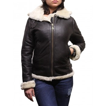 Women's Real Shearling Sheepskin Flying Aviator Leather Jacket Hooded - Cream
