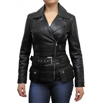Ladies Black Leather Biker Coat Style Jacket