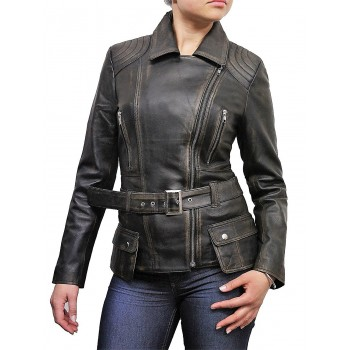 Ladies Black Rubb Off  Leather Biker Coat Style Jacket