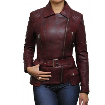 Ladies Burgundy  Leather Biker Coat Style Jacket