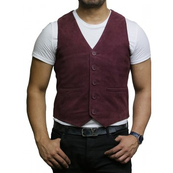 Mens Leather Waistcoat Goat Suede