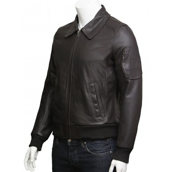 Mens Leather Bomber Jacket Genuine Cowhide