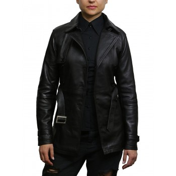 Vintage Women's Black Biker Coat Belted Retro Design Jacket