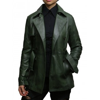 Vintage Women's Olive Biker Coat Belted Retro Design Jacket