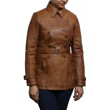 Vintage Women's Tan Biker Coat Belted Retro Design Jacket
