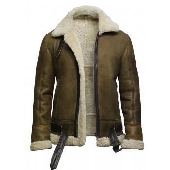 Brandslock Men's Aviator Real Shearling Sheepskin Leather Bomber Flying Jacket-Ben
