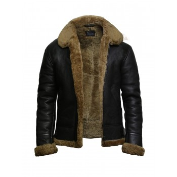Men's Aviator B3 World War2 Real Shearling Sheepskin Flying Jacket-Austin