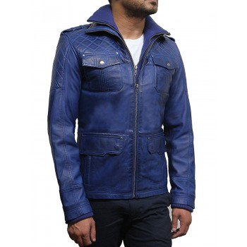 Mens Leather Jacket Genuine Leather Quilted Style
