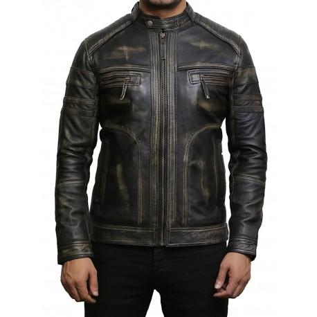 Men's Black Warm Leather Biker Jacket Vintage Retro Distressed Leather Jacket