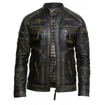 Mens Leather Jacket Genuine Leather Rubb Off