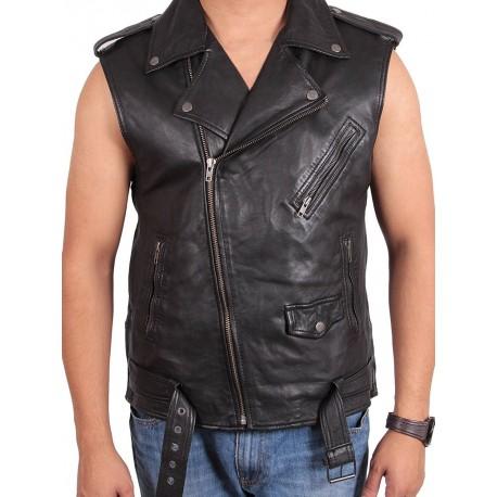 Brando Mens Leather Biker jacket Vest Gilet