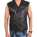 Mens Leather Vest Genuine Leather