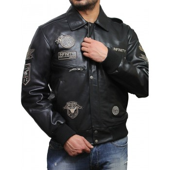Mens Leather Bomber Jacket Genuine Cowhide Removable Collar