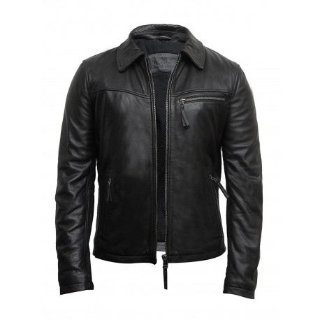 Vintage Black Mens Leather Biker Jacket