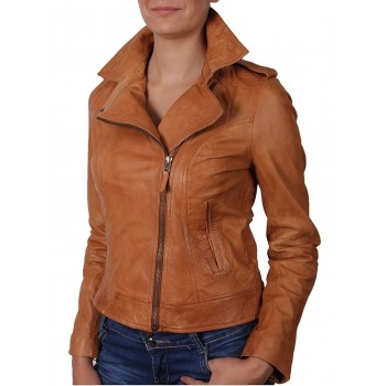 Women Classic Tan  real Leather Biker Jacket Designer Look