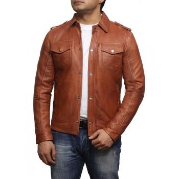 Men's Tan Leather Shirt Jacket - Farrell