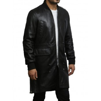 Mens Leather Long Coat Military World War 2 Style