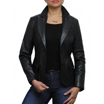 Ladies Black Leather Blazer Jacket - Emely
