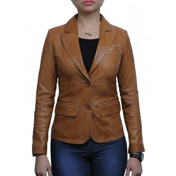 Ladies Brown Leather Blazer Jacket - Emely