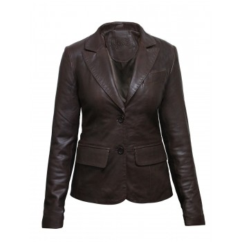 Women Brown Leather Blazer Jacket - Emely
