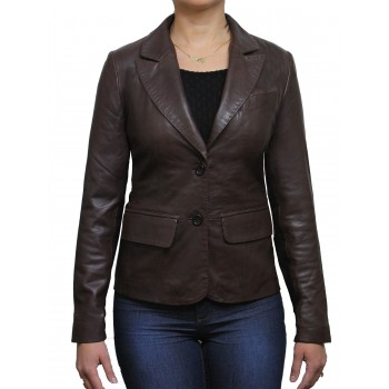 Women Classic Brown Real Leather Blazer Coat Style Jacket