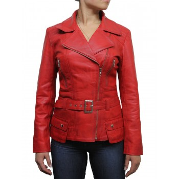 Ladies Red Leather Biker Coat Style Jacket