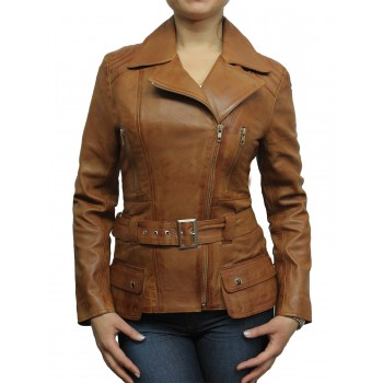 Ladies Tan Leather Biker Coat Style Jacket