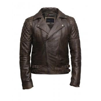 Mens Leather Jacket Genuine Leather Cross Zip Brando