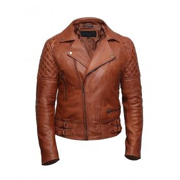 Mens Brown Leather Biker Cross Zip Brando Retro Jacket