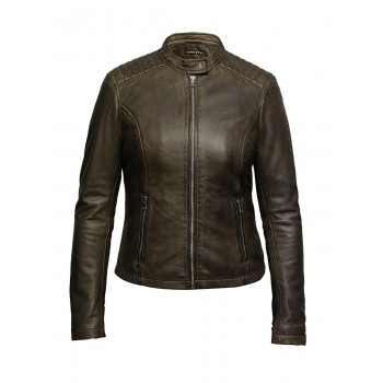 Women's Leather Biker Jacket Superior Quality Waxed Lambskin