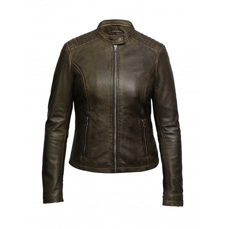 Women's Leather Biker Jacket Superior Quality Waxed Lambskin