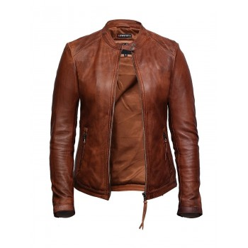 Women's Superior Quality Tan Real Leather Biker Jacket