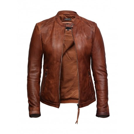 Women's Leather Biker Jacket Superior Quality Waxed Lambskin Leather
