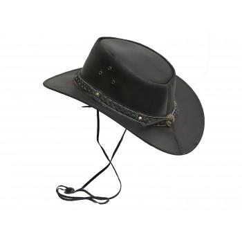 Vintage Mens Wide Brim Cowboy Black Aussie Western Hat