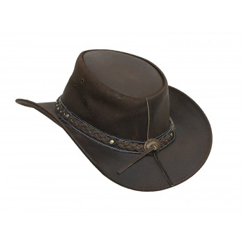 Vintage Mens Wide Brim Cowboy Brown Aussie Western Hat