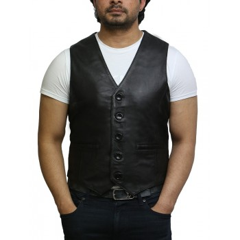 Mens Leather Vest Genuine Lambskin