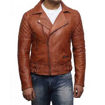 Mens Genuine Leather Biker Jacket Cross Zip Vintage