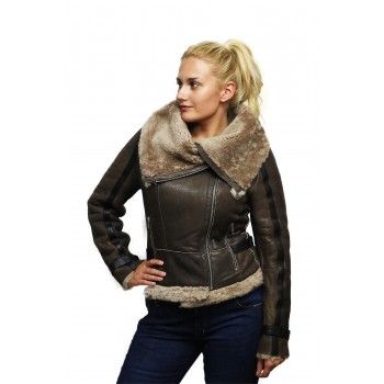 Women Brown Real Shearling Sheepskin Short Fitted Leather Biker Jacket