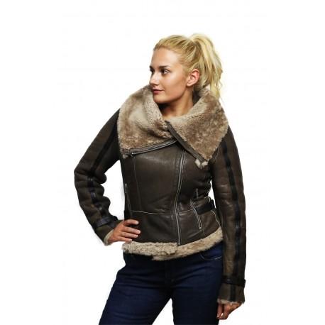 Ladies Women Short Fitted Grey Biker Style Real Shearling Sheepskin-Gisa