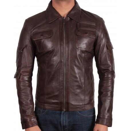 Men's Brown Leather Jacket - Hazard