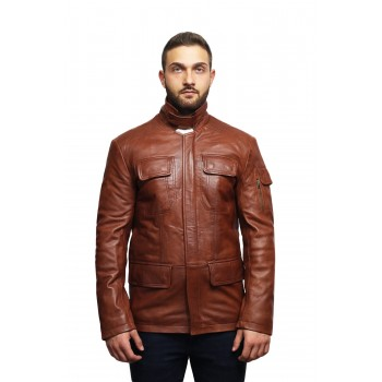 Men's Leather Jacket Real Lambskin Trench Safari Coat Washed Timber