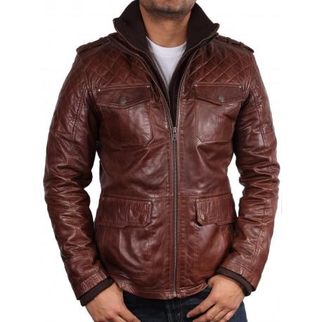 Men's Brown Leather Biker Jacket - Memphis