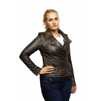 Women Brown  Classic Real Leather Biker Jacket Designer Look