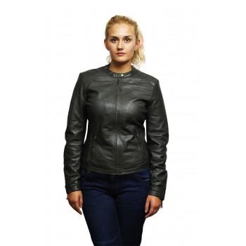 Womens Genuine Lambskin Leather Biker Jacket Distressed