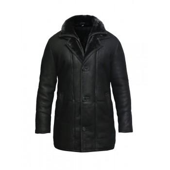 Men's Genuine Shearling Sheepskin Leather Coat Merino Wool.