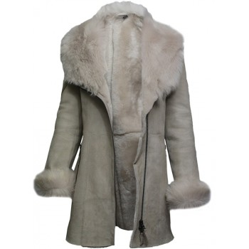 Women Spanish Merino Genuine Shearling Sheepskin Leather Toscana Coat