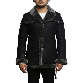 Mens Genuine Shearling Sheepskin Leather Warm Duffle Trench Coat Thick Inner