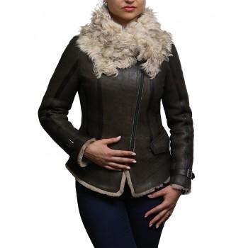 Vintage Womens Classic Shearling Sheepskin Real Leather Biker Jacket